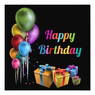 Happy Birthday cartão Convite Quadrado 13.35 X 13.35cm