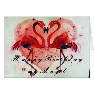 Happy Birthday - flamingo cartão/greeting card Cartão Comemorativo