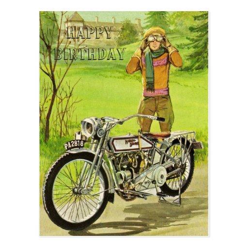 HAPPY BIRTHDAY MOTORCYCLE CARTÕES POSTAIS