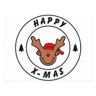 Happy mas rena com árvore cartão postal