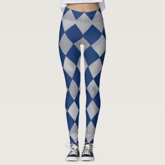 Harlequin azul e de prata caneleiras modeladas leggings