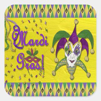 Harlequin do carnaval da máscara do bobo da corte adesivo quadrado