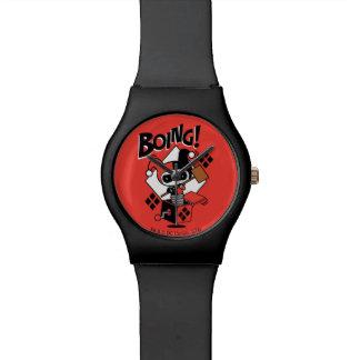 Harley-Quinn-Em-UM-Box de Chibi com martelo Relógios