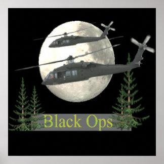 helicóptero preto das forças armadas dos ops pôster