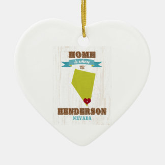 Henderson, mapa de Nevada - Home é onde o coração Ornamento De Cerâmica Coração