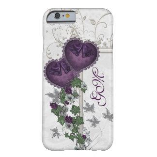 Hera elegante & corações roxos capa barely there para iPhone 6