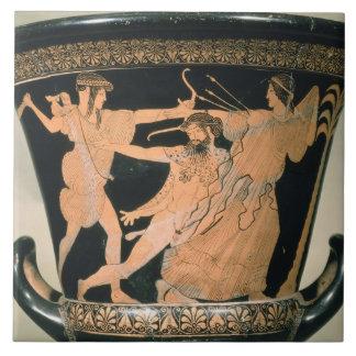 Herakles que esforça-se, detalhe de um sótão verme azulejos