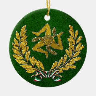 Herança siciliano de Trinacria no ouro no verde Ornamento De Cerâmica