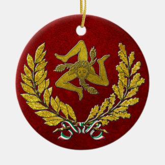 Herança siciliano de Trinacria no ouro no vermelho Ornamento De Cerâmica