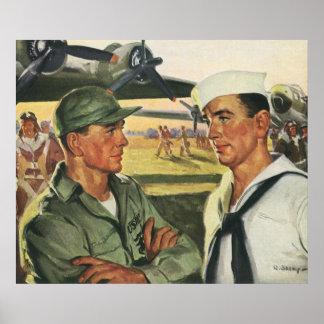 Heróis patrióticos do vintage, pessoal militar poster
