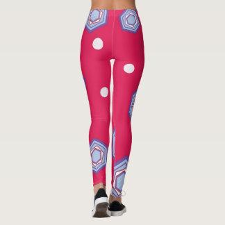 Hexágonos em caneleiras cor-de-rosa carmesins legging