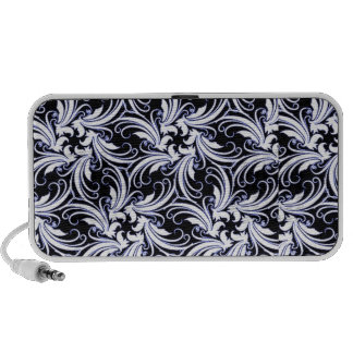 Hibiscus branco à moda moderno no preto caixinhas de som para laptop