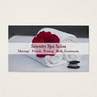 Hibiscus de toalhas da massagem do salão de beleza cartão de visitas