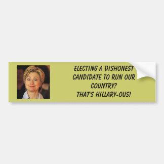 hillary%20clinton, elegendo uma candida desonesta… adesivo para carro
