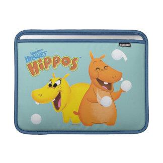 Hipopótamo amarelo & alaranjado bolsa para MacBook air