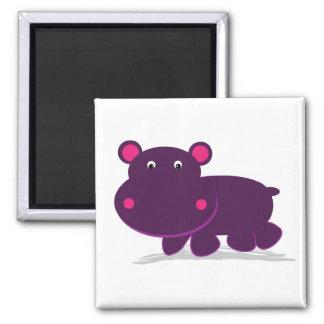 Hipopótamo bonito ímã quadrado