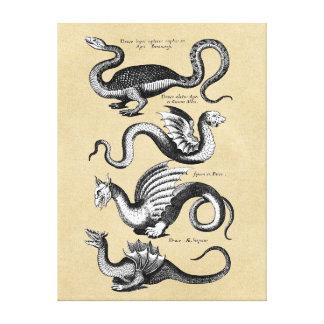 História da carta da parede dos dragões impressão em tela
