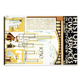 História de serviços cívicos no poster de New York Impressão De Foto