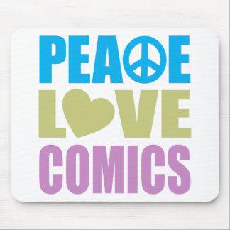 História em quadrinhos do amor da paz mousepads