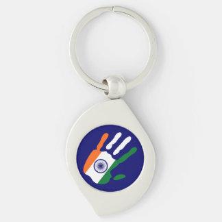 holiES - mão da bandeira de India + sua cor do Chaveiro Espiral Cor Prata