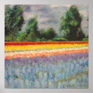 Holland floresce o Triptych 1 da paisagem do moinh Posters