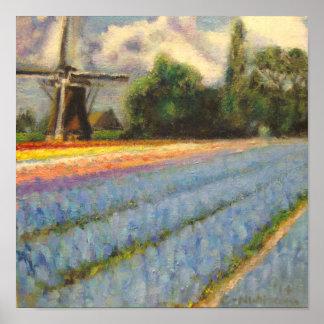 Holland floresce o Triptych 2 da paisagem do moinh Poster