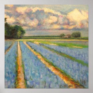 Holland floresce o Triptych 3 da paisagem do moinh Posteres