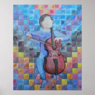 Homem abstrato do violoncelo poster