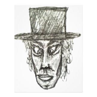 Homem com ilustração do desenho de lápis da cabeça papel timbrado