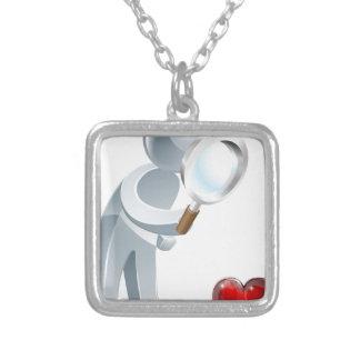 Homem da lupa do coração bijuteria personalizada