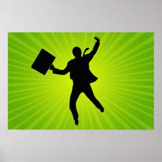Homem de negócio de salto com um fundo de Starburs Poster