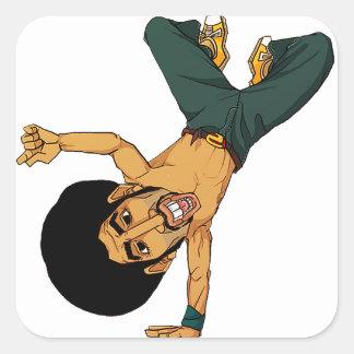homem do Afro do B-menino Adesivo Quadrado