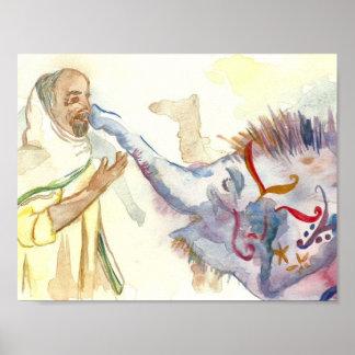 Homem e um poster da arte do elefante