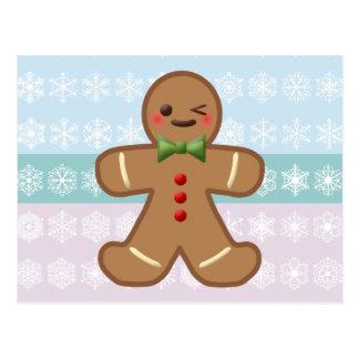 Homem & flocos de neve de pão-de-espécie de Kawaii Cartão Postal