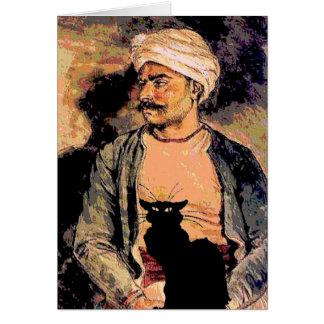 Homem Hindu com gato preto Cartão Comemorativo