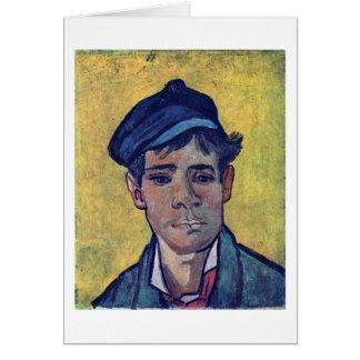 Homem novo com o chapéu por Vincent van Gogh Cartão Comemorativo