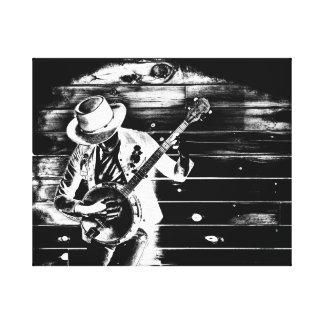 Homem preto & branco do banjo - canvas
