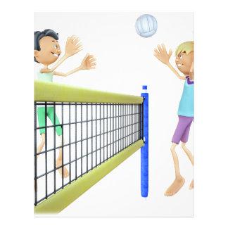 Homens dos desenhos animados que jogam o voleibol papel timbrado