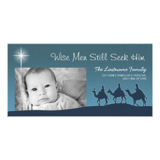 Homens sábios - cartão com fotos do feriado do Nat Cartão Com Foto