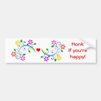 Honk se você é flores felizes e coração bonito adesivo para carro