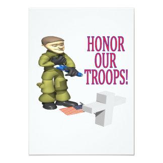 Honre nossas tropas convite 12.7 x 17.78cm