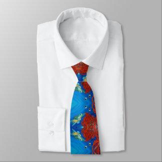 Honu (tartaruga de mar verde) e coral preto gravata