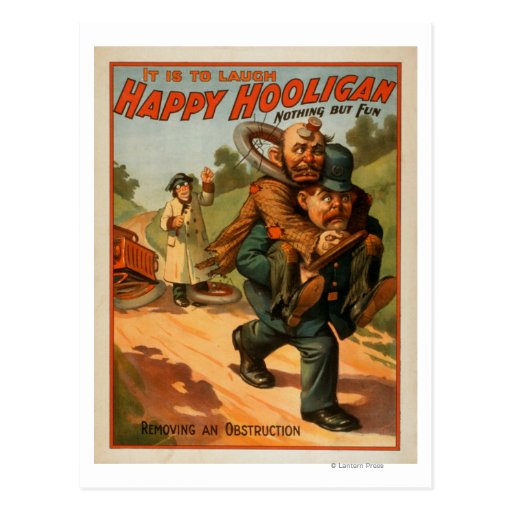 """Hooligan feliz """"é rir"""" o poster do teatro cartão postal"""
