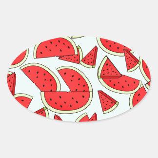 Horas de verão da melancia adesivo oval