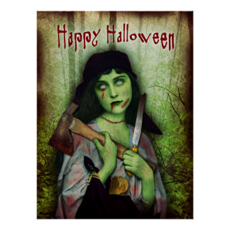 Horror gótico do Dia das Bruxas da menina do zombi Pôster