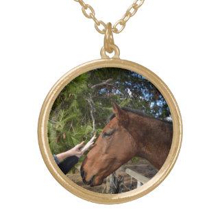 Horse_Pat, _Gold_Toned_Pendant_Necklace. Colar Banhado A Ouro