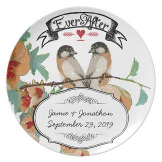 Hortelã do pêssego do pássaro do amor da flor de pratos