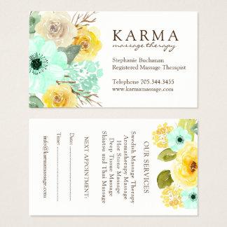 Hortelã e cartões de visitas florais do amarelo