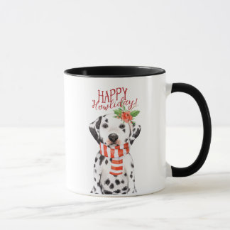 howliday feliz da caneca do Natal do cão do