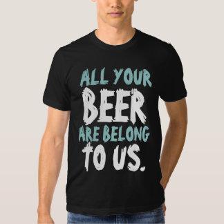 Humor engraçado da cerveja camisetas